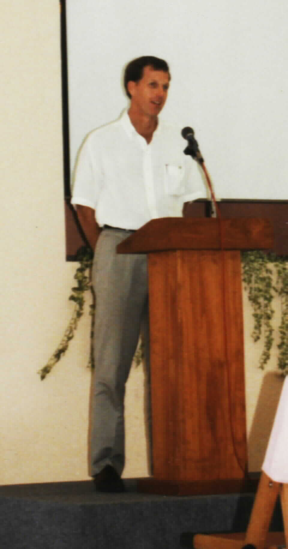 Kelly's giving a sermon at Bedok church in S'pore yr. 1998